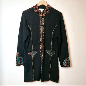 Coldwater Creek Embroidered Beaded Long Cardigan